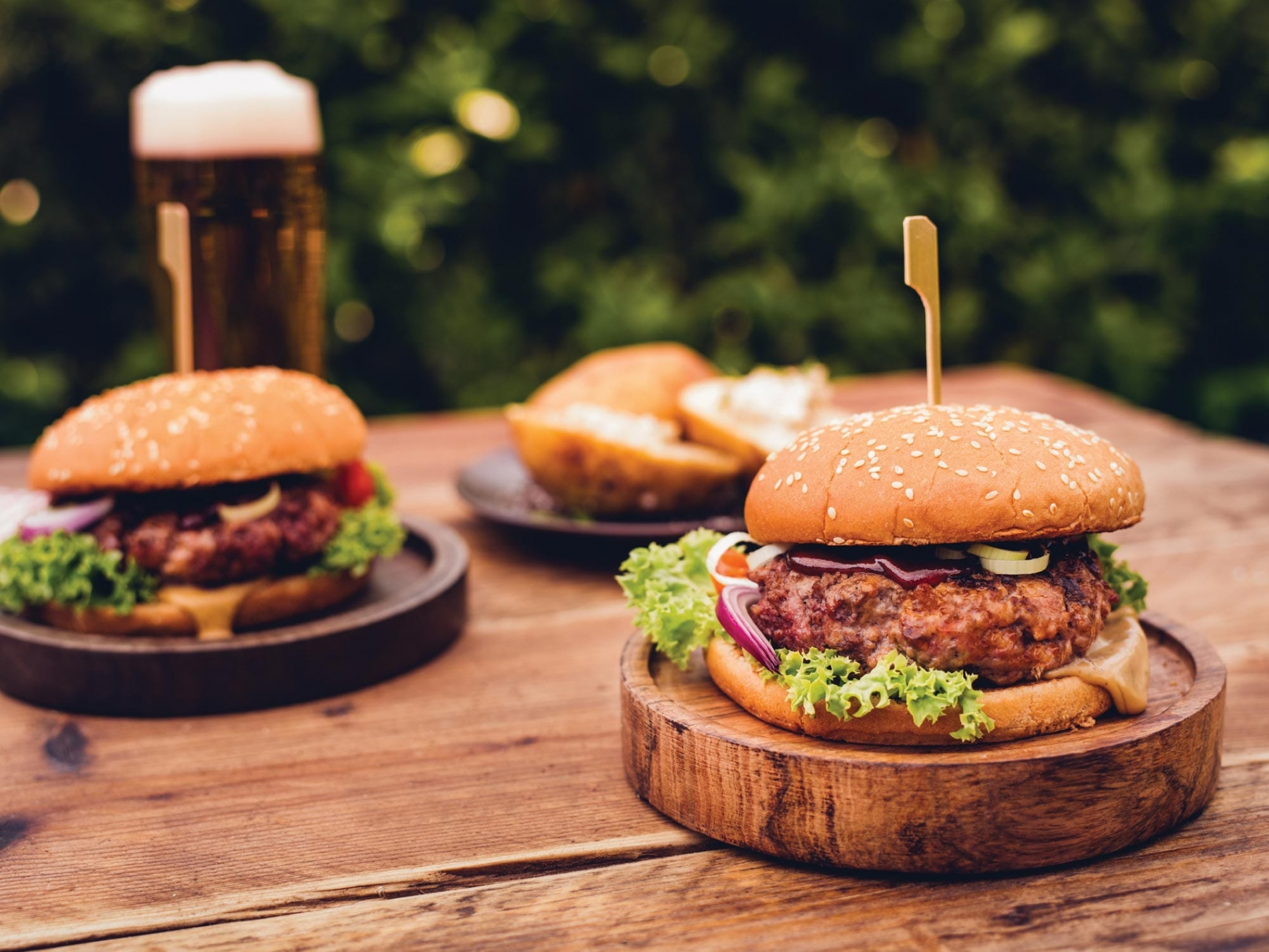 Tasty barbecued burgers