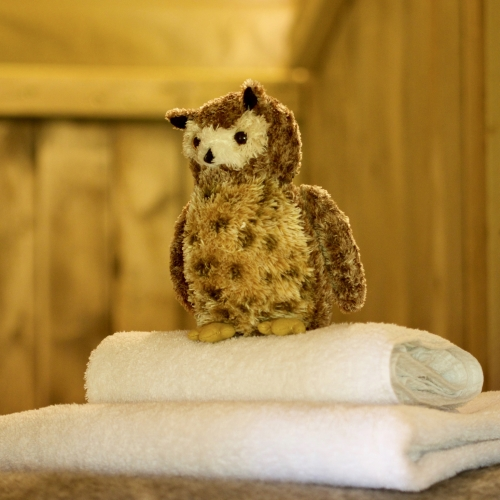 cosy folded towels and cuddley toys at Loose Reins glamping